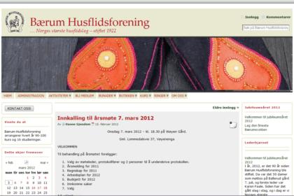Bærum Husflidsforening forside 2010-