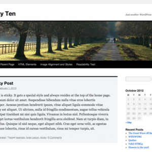 Twenty Ten standardtema fra WordPress
